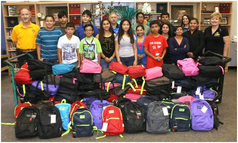 Rotary donates 100 backpacks to Edinburg ISD