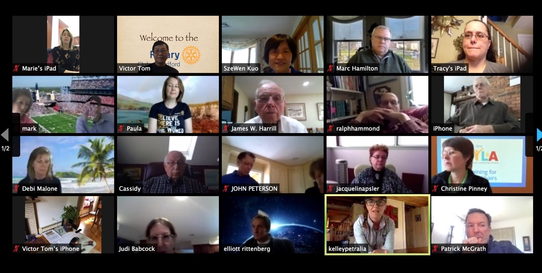 Zoom conference call for video instruction of how to assemble shields for Rotary Clubs of Bedford, Concord, Billerica, and Westborough