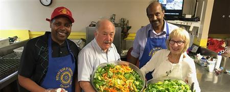 Preparing salad for Bristol Lodge Community Supper