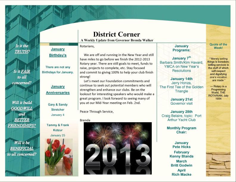 Jan. 7, 2013 Club Bulletin