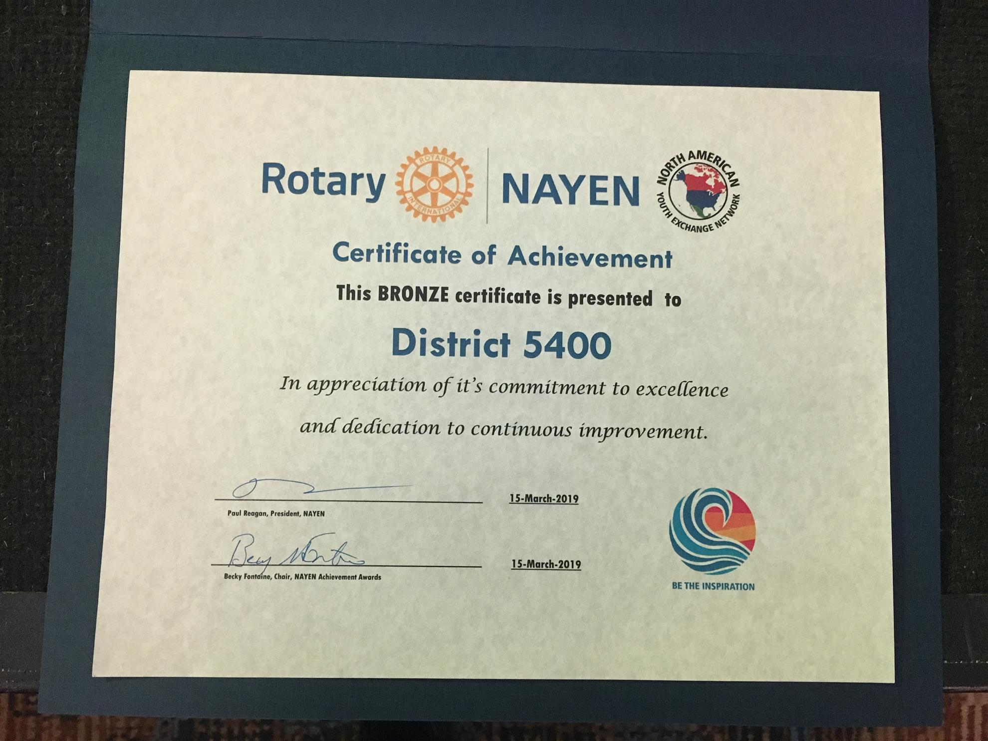 Bronze certificate of achievement for D5400's RYE program