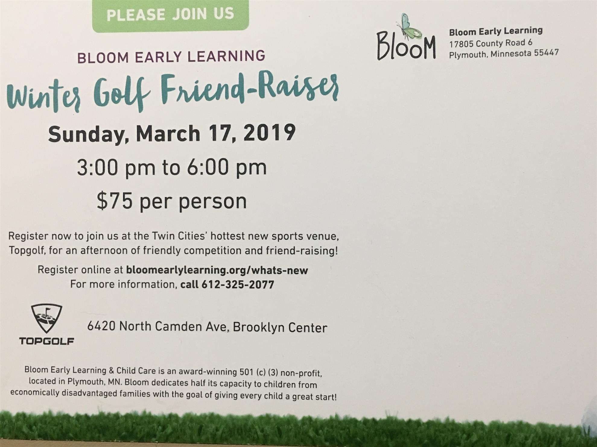 Bloom Early Learning & Childcare Friend-Raiser - March 17, 2019