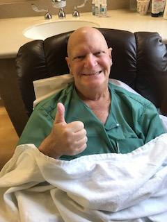 Past Pres Alan Bakst, following stem cell transplant