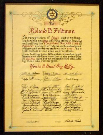 Scroll Presented to Rolly as 1st President