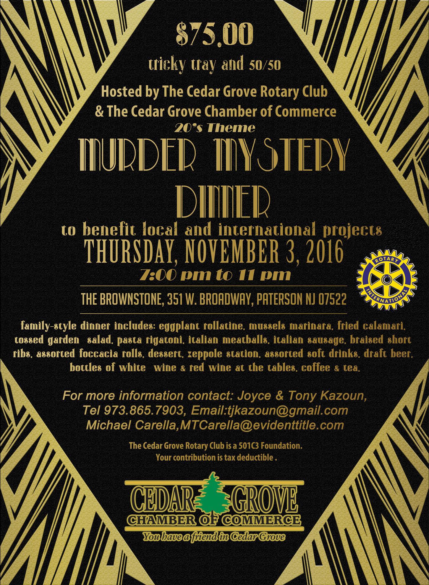Murder Mystery Dinner Fundraiser   Cedar Grove Rotary Club