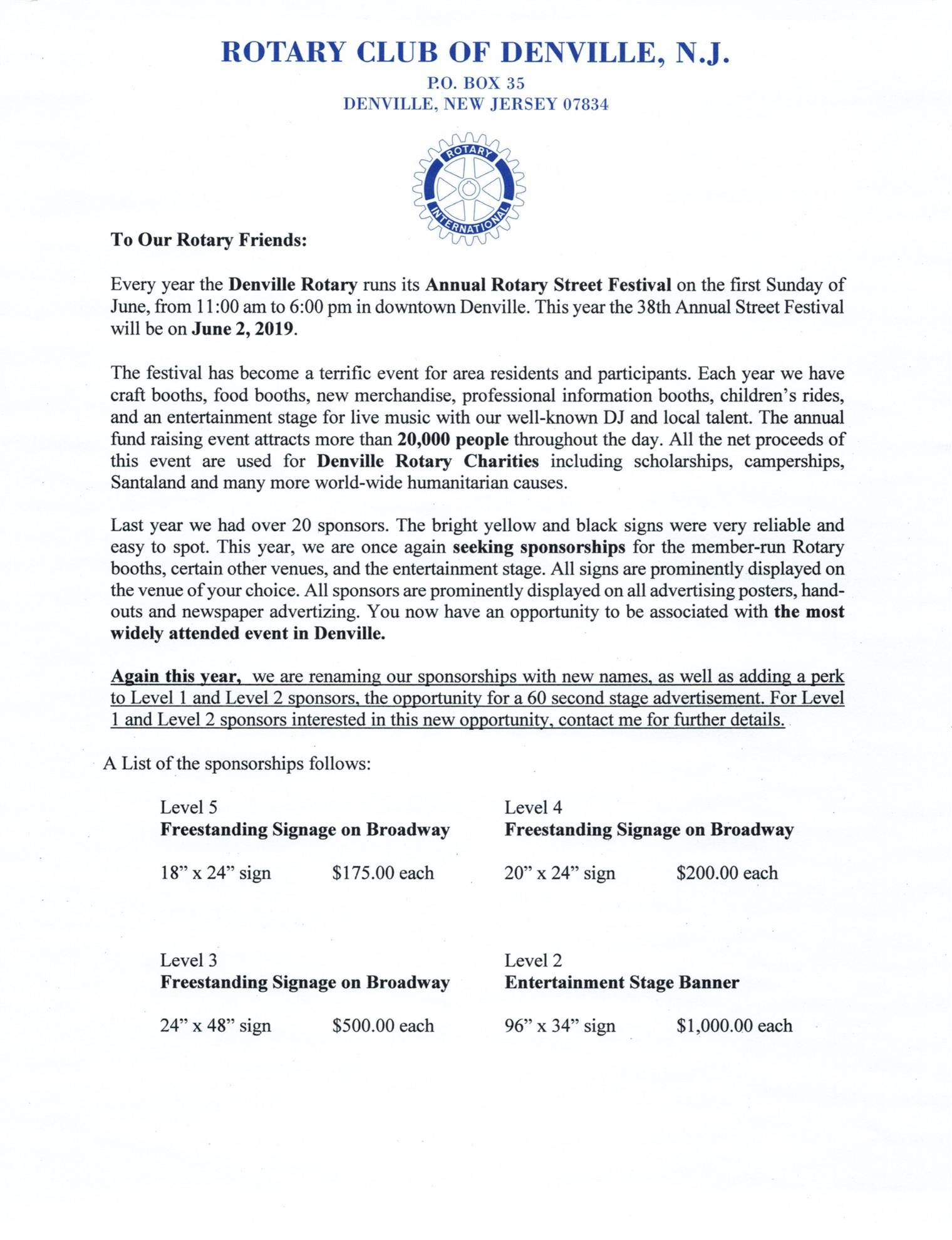 38th Annual Rotary Street Festival   Denville Rotary Club