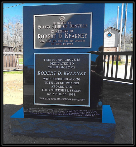 The Robert Kearney Memorial Picnic Grove at Gardner Field was dedicated in 1964. The project was in memory of the 21 year old Denville youth who was lost at sea in the ill-fated nuclear submarine, the U.S.S. Thresher.