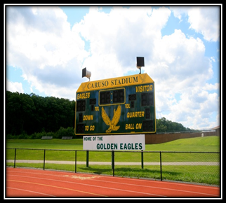 An electronic scoreboard was installed in 1977 at the Caruso Athletic Stadium, Morris Knolls High School.