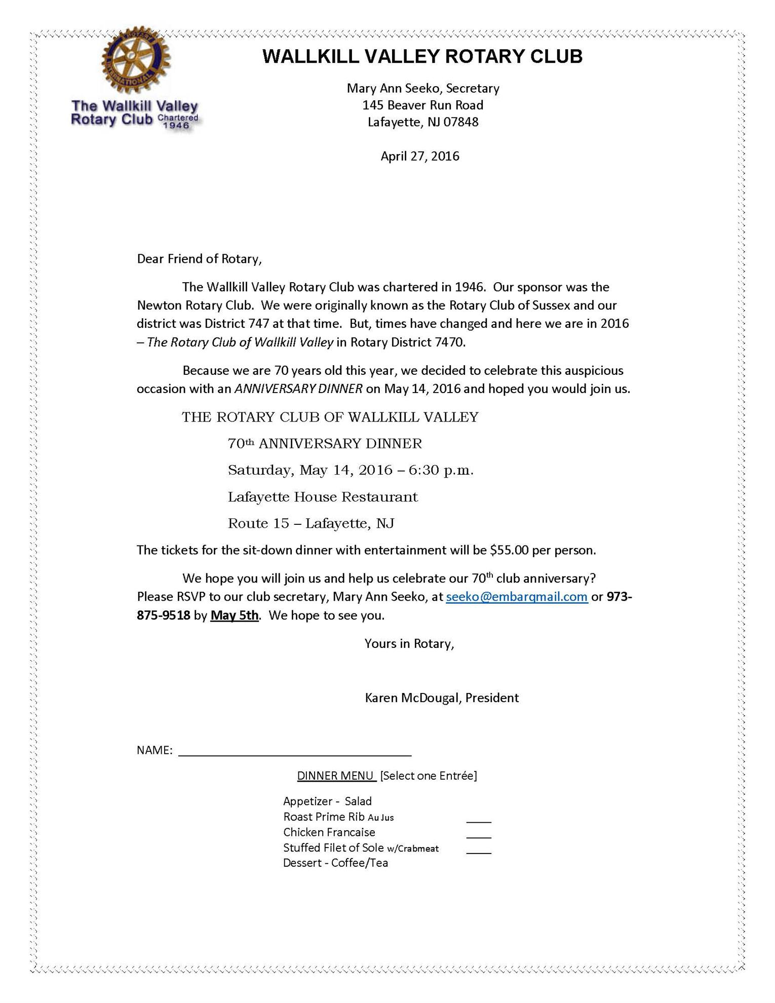 Walkill valley 70th anniversary dinner printable invite rotary walkill valley 70th anniversary dinner printable invite rotary club of newton stopboris Image collections