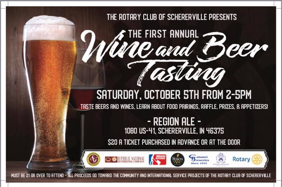 Schererville Beer & Wine Tasting on October 5, 2-5 PM at Region Ale in Schererville, $20