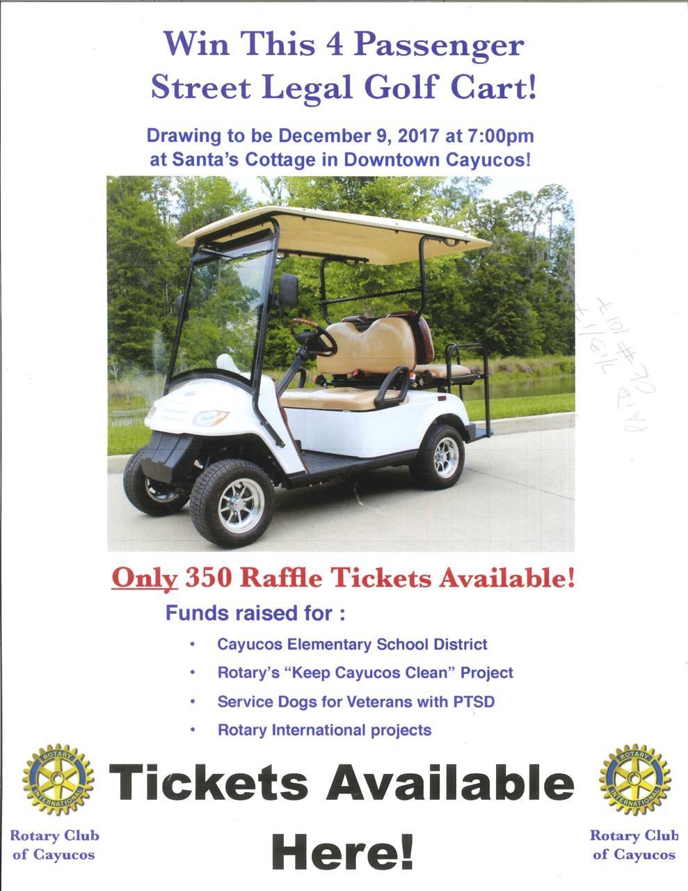 3rd Golf Cart Raffle   Rotary Club of Cayucos-Seaside  Golf Cart on golf words, golf card, golf handicap, golf games, golf machine, golf hitting nets, golf cartoons, golf tools, golf buggy, golf trolley, golf players, golf girls, golf accessories,