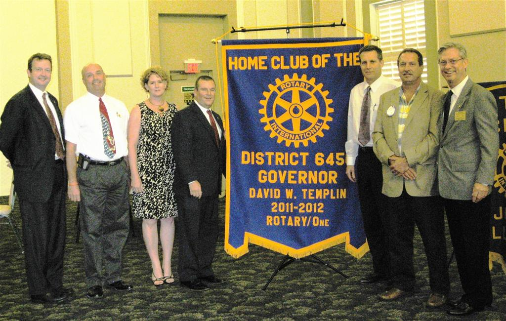 (l-r)  Dave Thornton, Eric Wesel (Rotary District 6450 Assistant Governor, Area M), Cathy Molck, President Dan Mihelich, Tim Brophy, Tom Grotovsky and Governor David Templin, Rotary District 6450