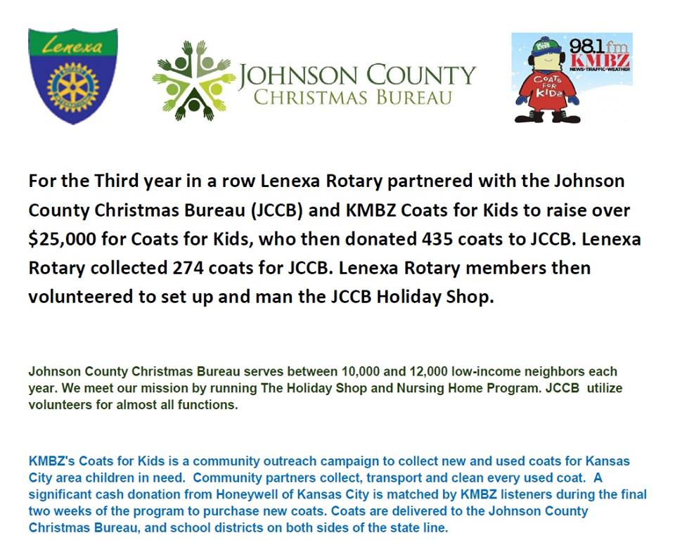 Thanks for the Coats!! | Rotary Club of Lenexa