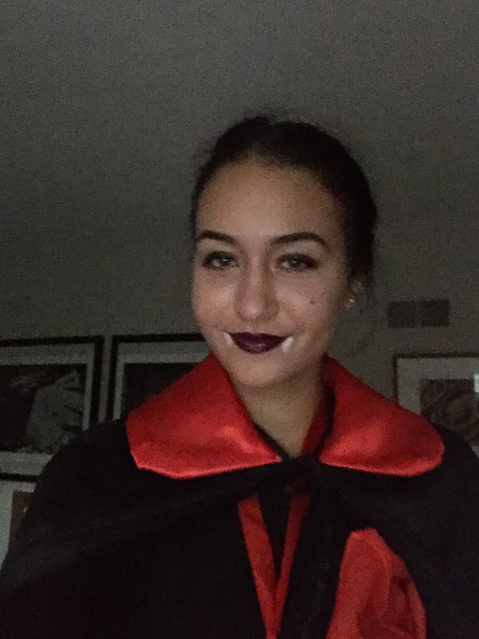 Ana dressed as a vampire for Halloween