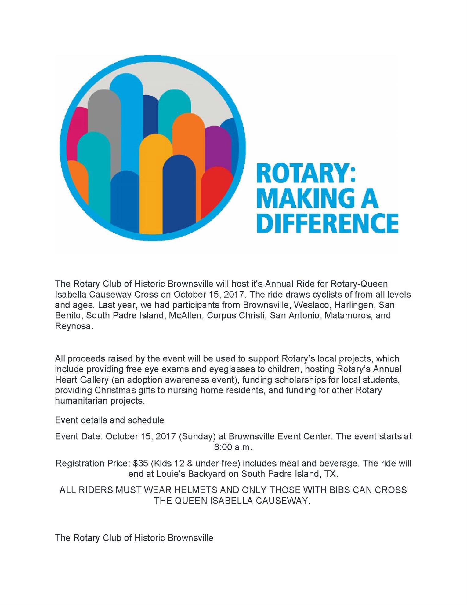 Ride For Rotary Queen Isabella Causeway Cross