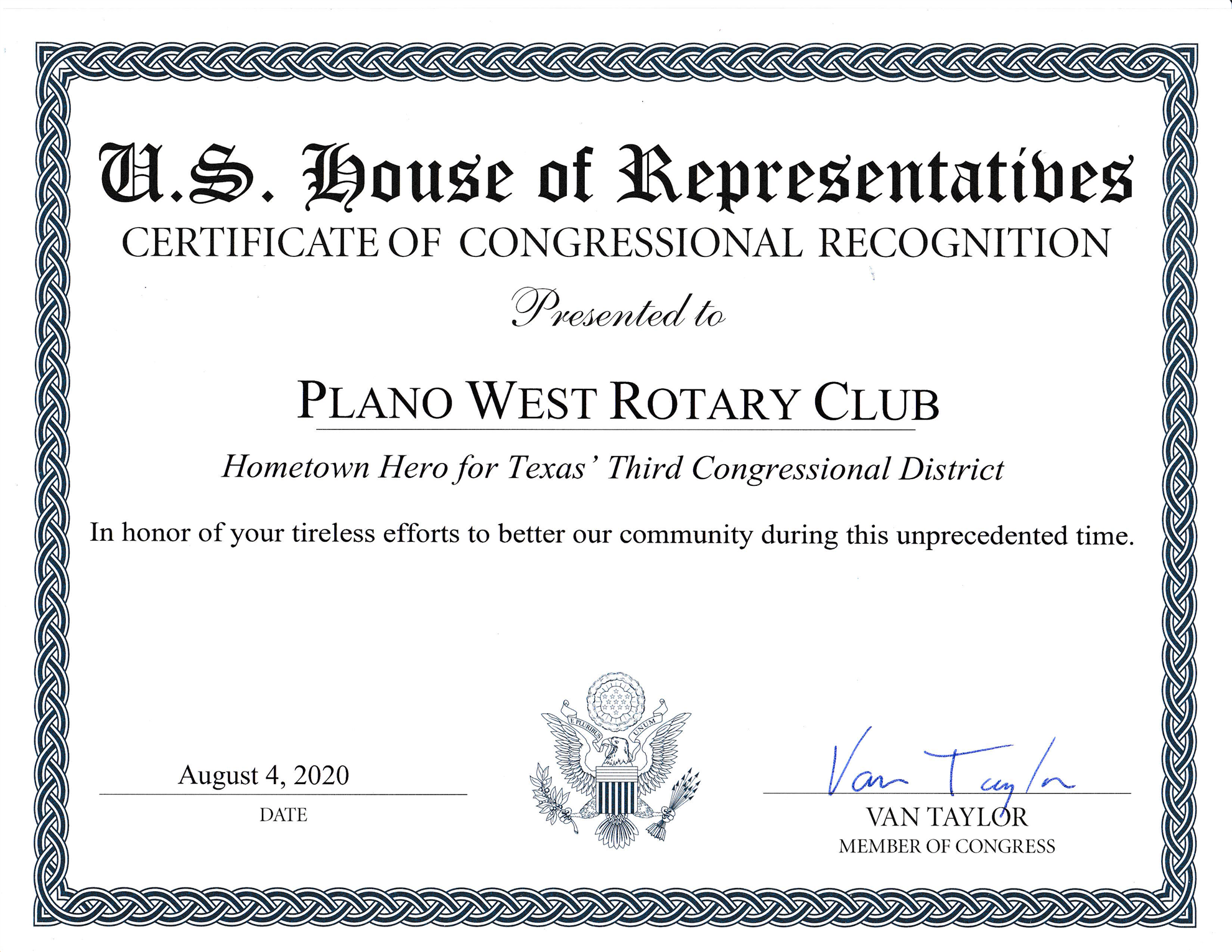 Hometown Hero for Texas' 3rd Congressional District