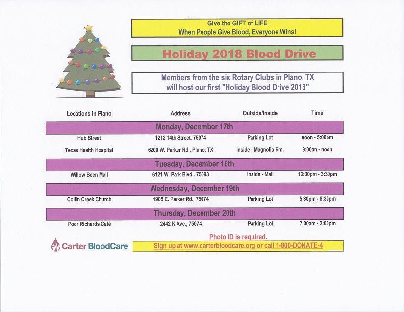 Christmas Blood Drive.Holiday Blood Drive 2018 Rotary Club Of Plano West