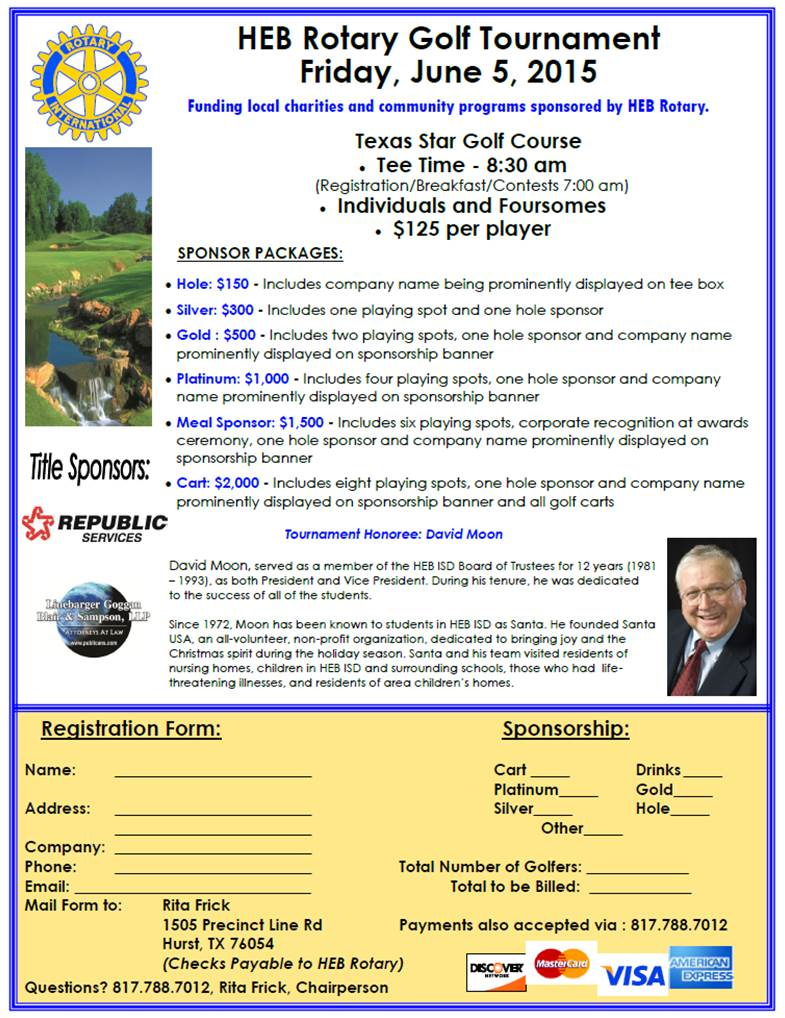 HEB Rotary Charity Golf Tournament - SAVE THE DATE! | Rotary Club of