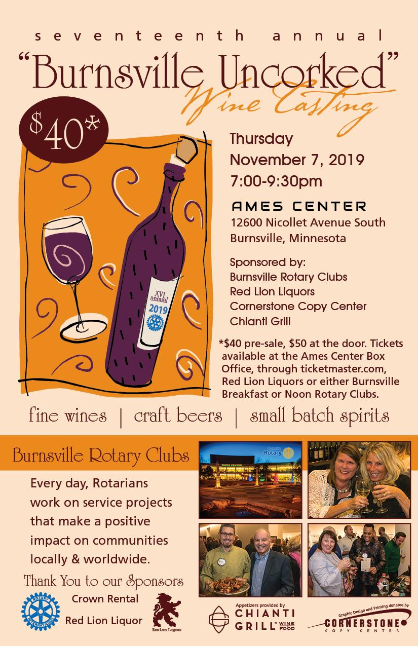 Burnsville Uncorked November 7th 2019 Tickets $40 in Advance $50 at the door