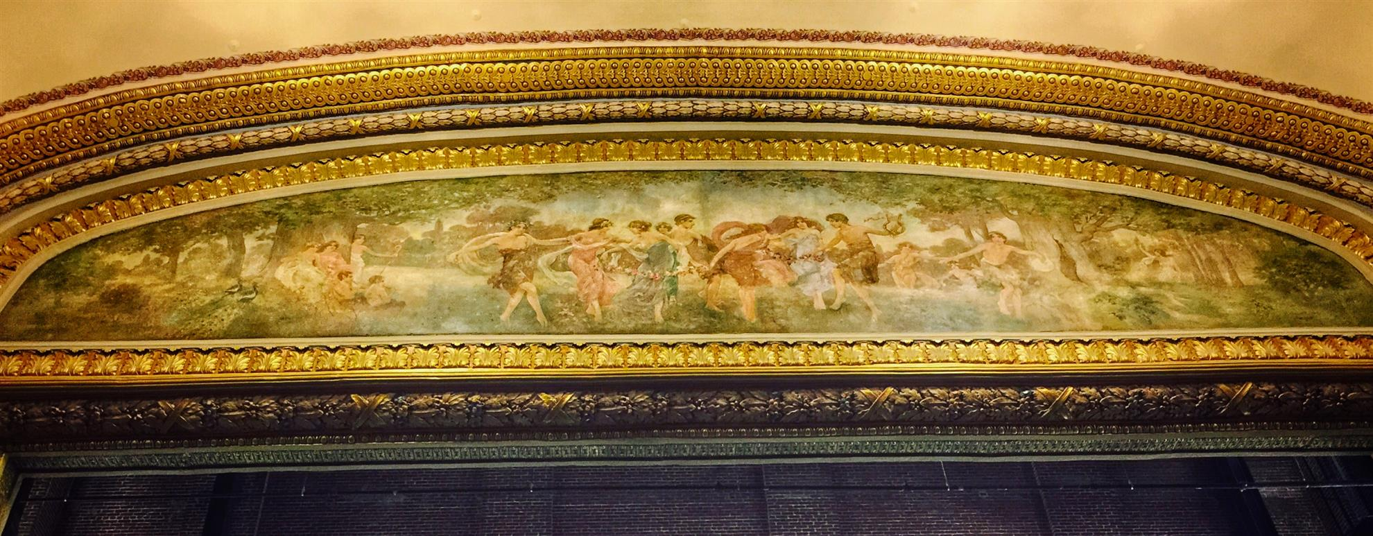 Detail of artwork over the Lyric Theatre proscenium.