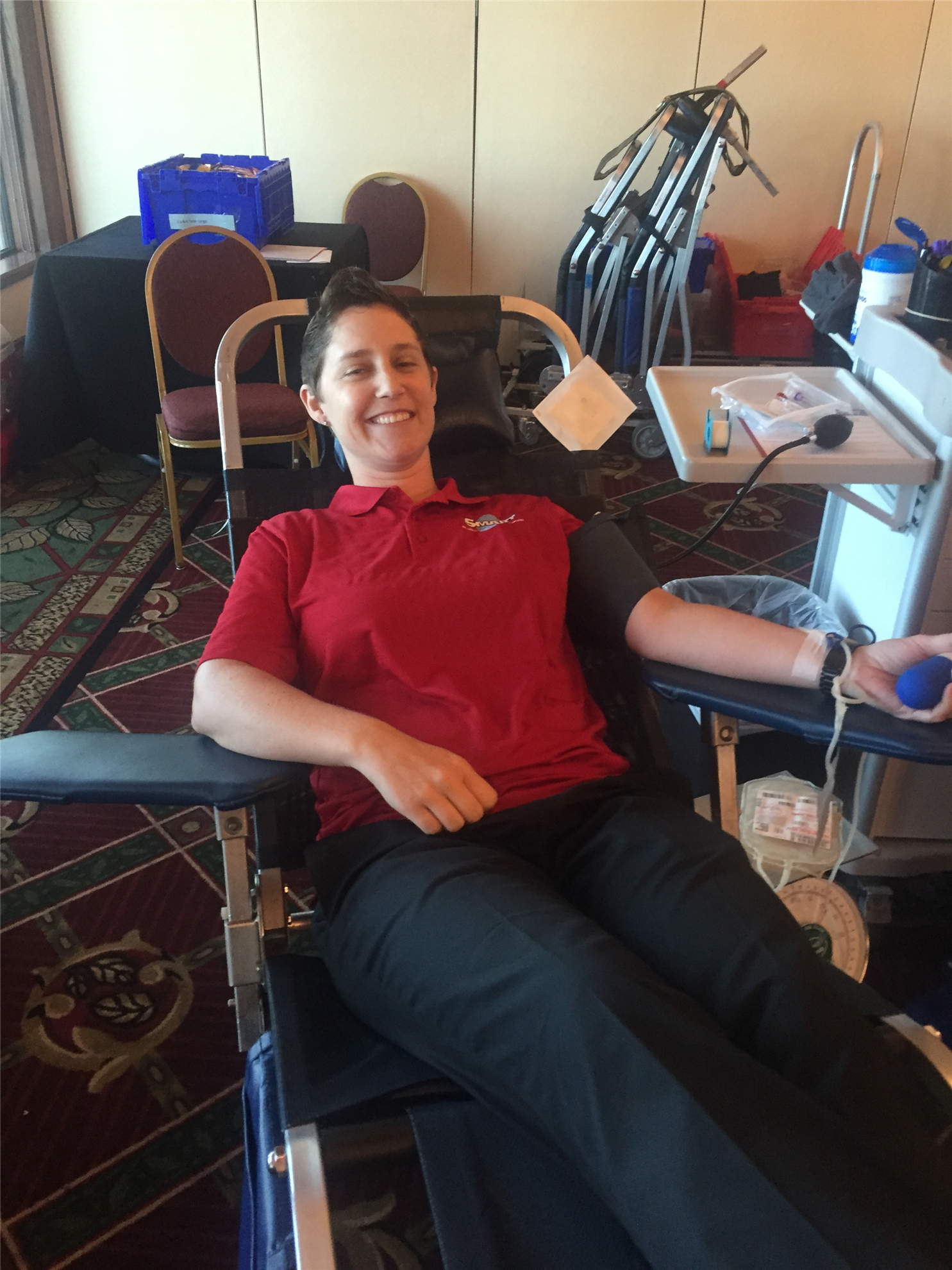 Guest Christie Brewster giving blood for the FIRST time!
