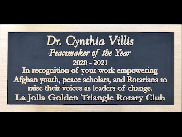 Peacemaker plaque presented to Dr. Cynthia Villis