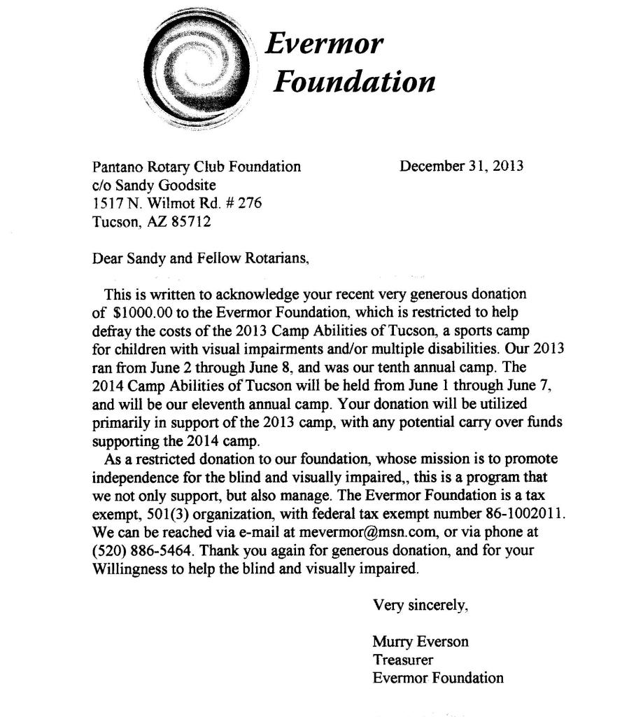 Thank You Letter from Evermor Foundation
