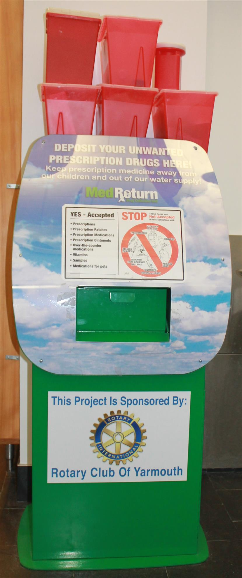 Yarmouth Rotary Unwanted Prescription Drug Box at Yarmouth Police Department