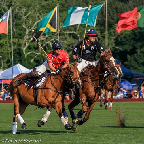 Two Polo Players and their Horses with various contries flags in the background