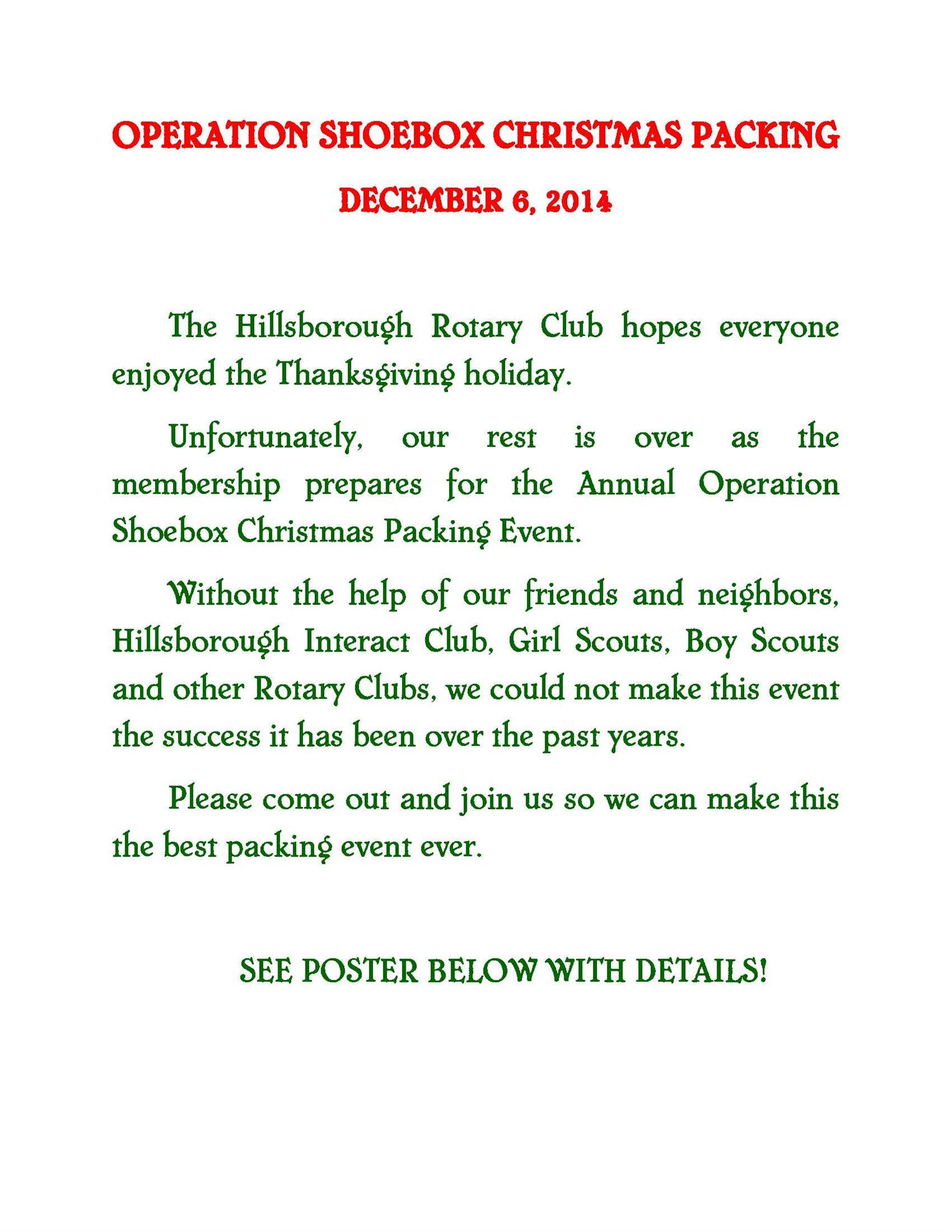 Operation Shoebox Packing Event | Rotary Club of Hillsborough