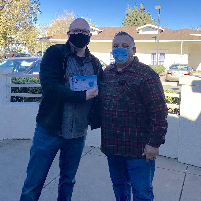Rotarians donating masks