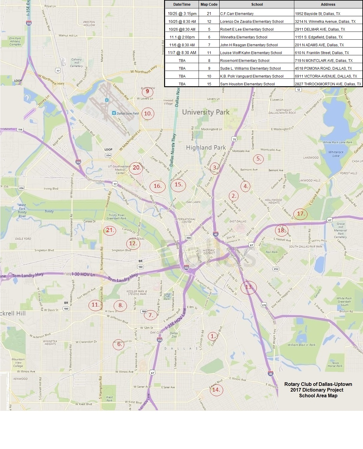 Home Page | Dallas-Uptown Rotary Club Dallas Hotel Map on