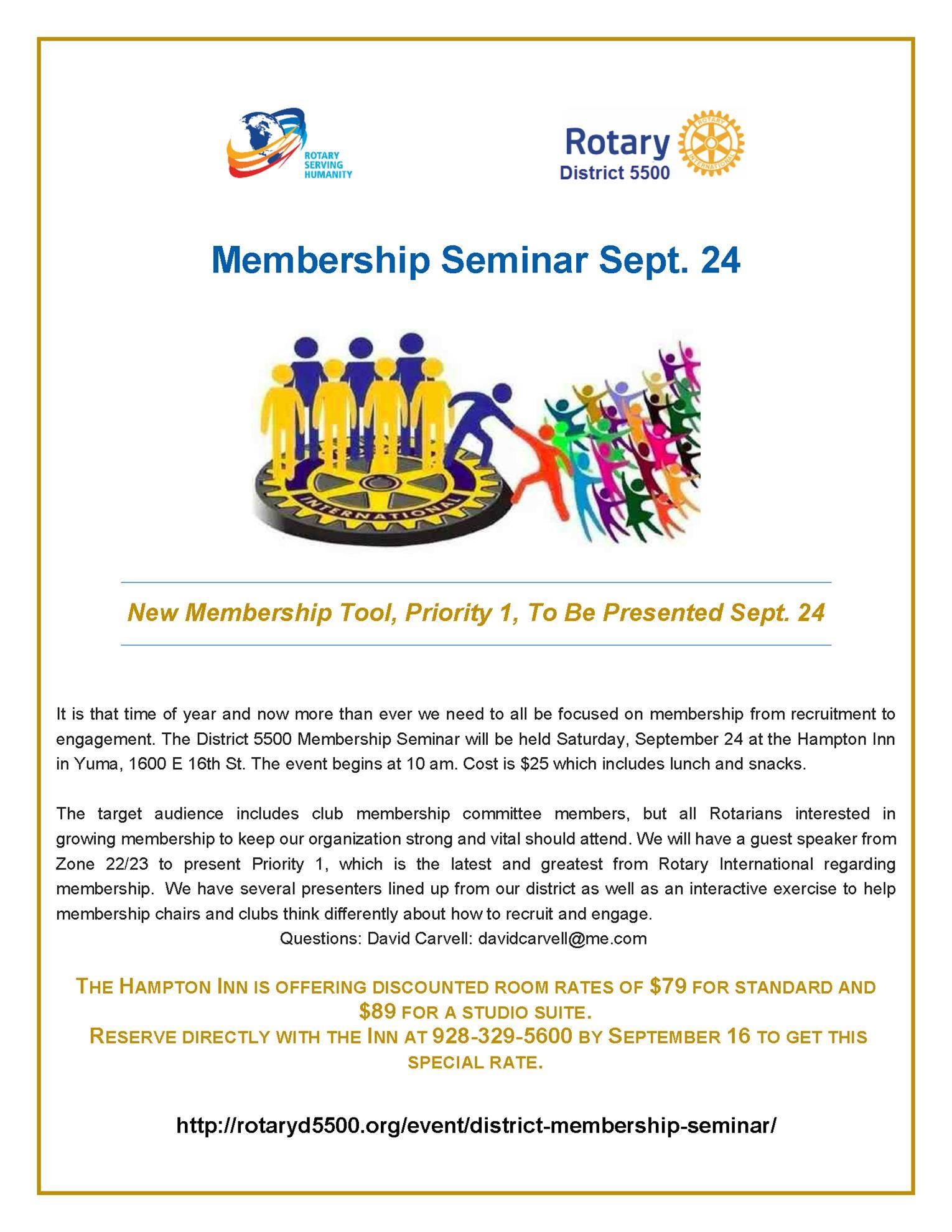 Membership Seminar is Right Around the Corner | Rotary Club