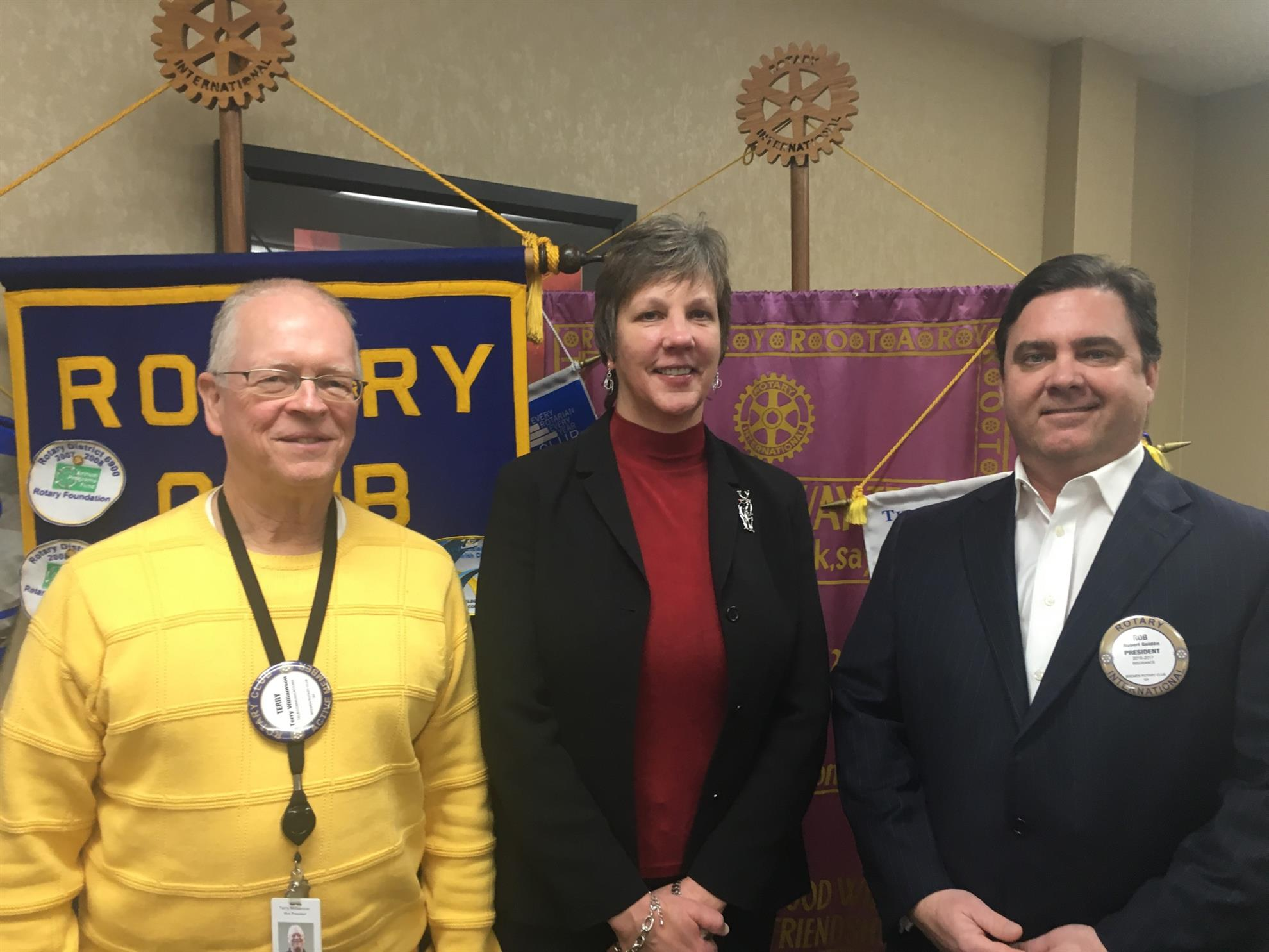 home page rotary club of bremen from left to right terry williamson karen kirschler and rotary president rob goldin