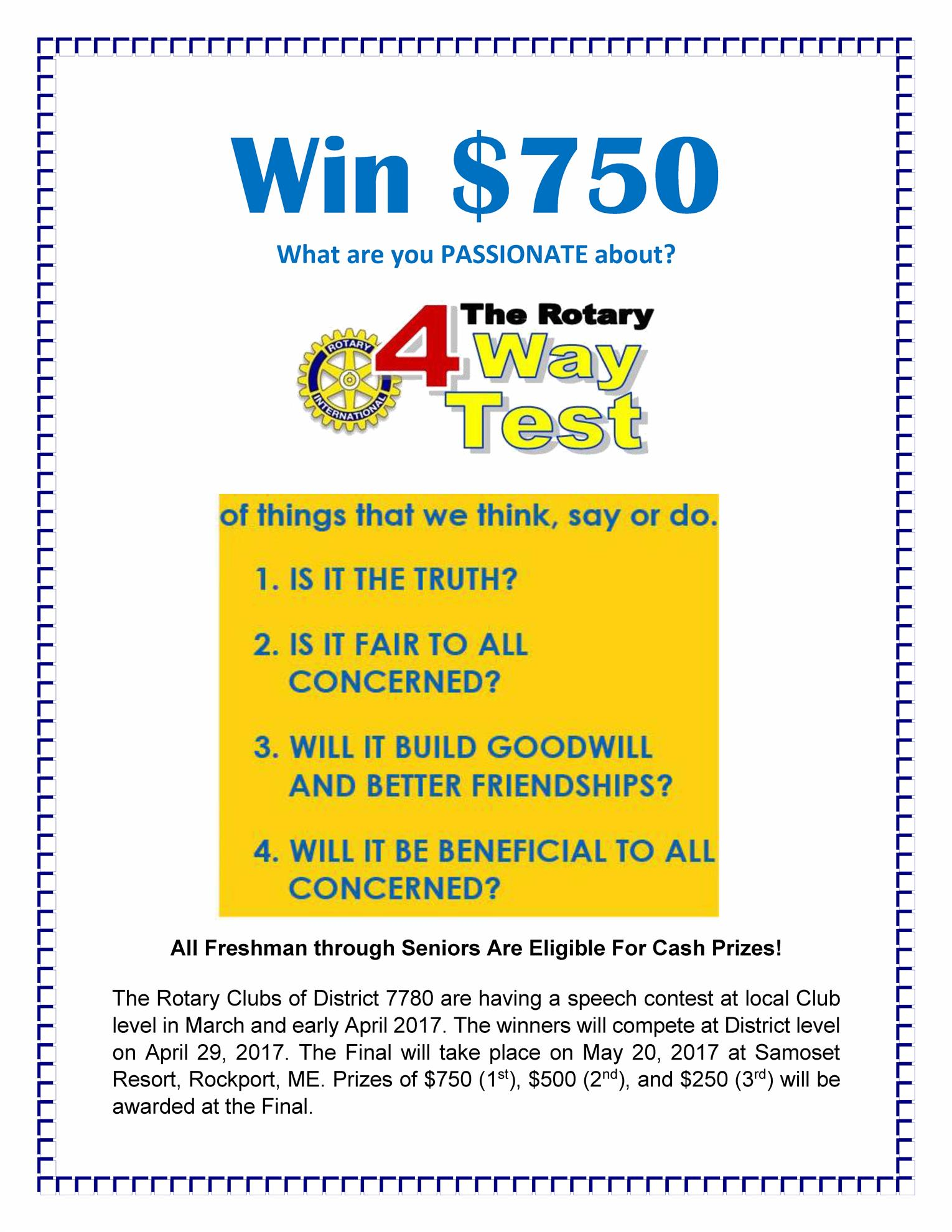stories rotary club of scarborough the board of directors has approved the club s participation in the 2017 four way test speech contest the prize for first place district winner will be