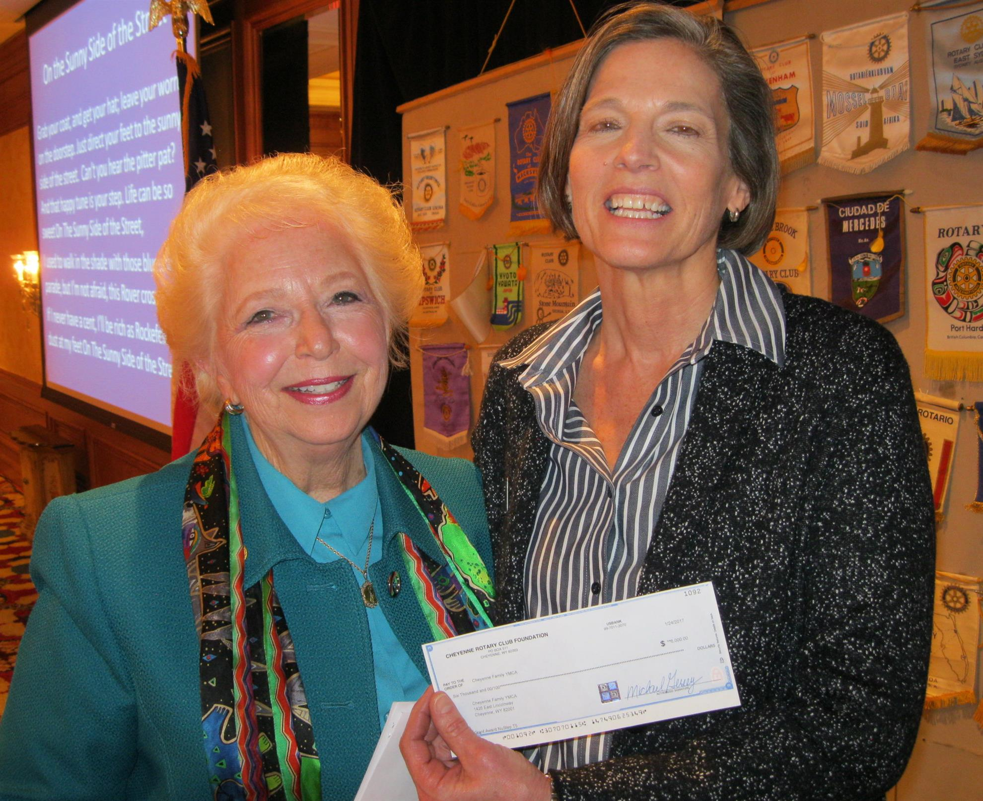 Endowment Chair, Roz Baker, Presents $6000 Grant To Ymca Director, Patty  Walters, How To Eat Fried Worms