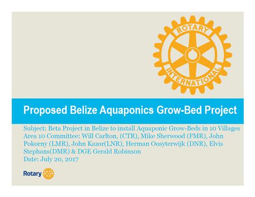 View the Belize Aquaponics Project PowerPoint