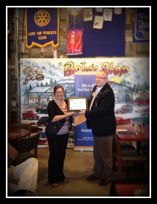 Shannon Slater presented with  the Rotary Builder Award
