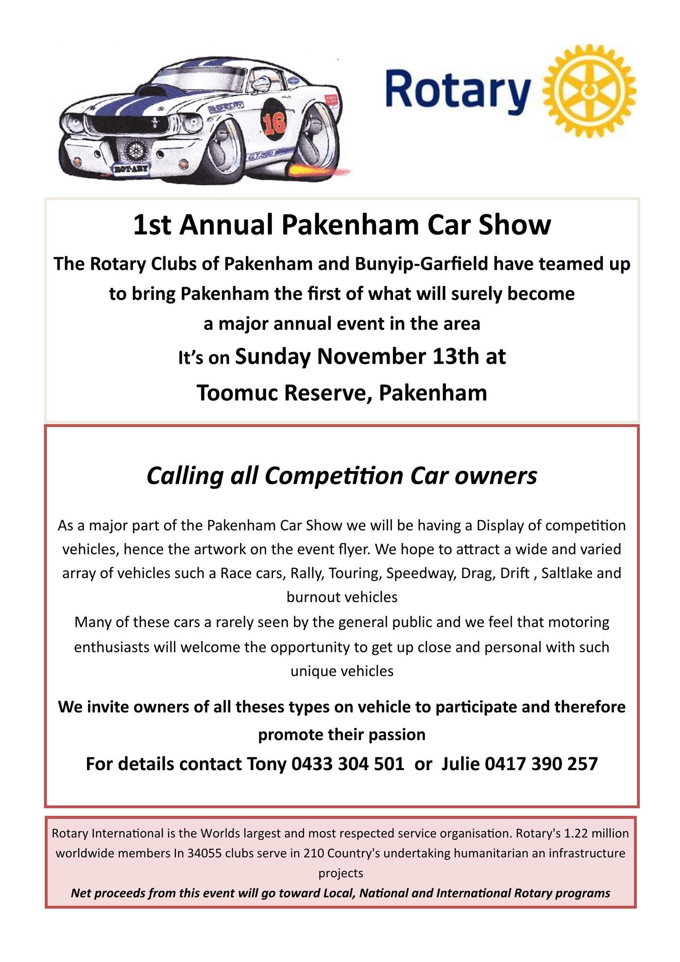 Competition Cars Welcome At Pakenham Car Show Rotary Club Of Pakenham - Major car shows