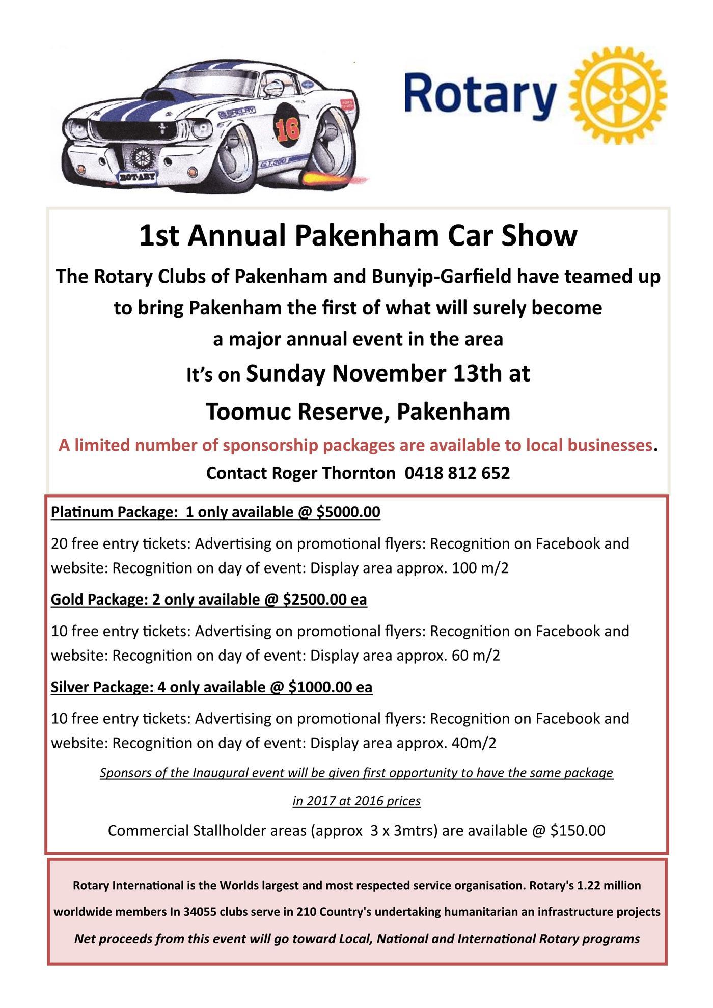 Pakenham Car Show Sponsorship Rotary Club Of Pakenham - Show car sponsorship