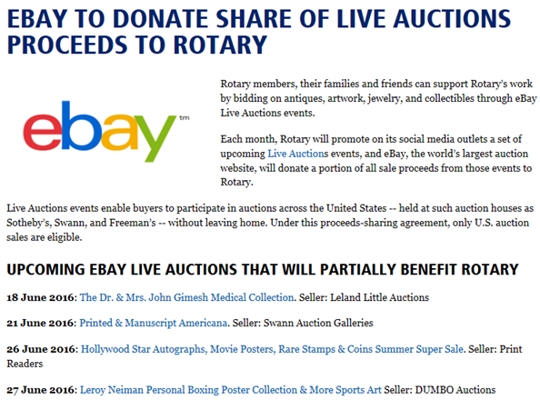 EBay to Donate Share of Proceeds to Rotary   Rotary club of