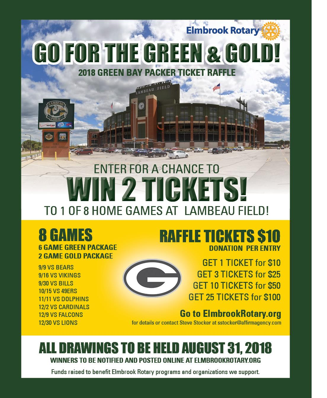 our green bay packer ticket raffle fundraiser is back rotary club