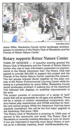 Our Latest Major Project - Retzner Nature Center
