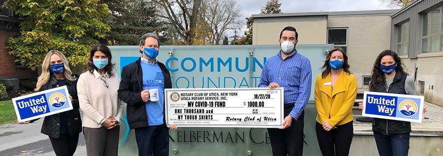 Utica Rotary Donates $1,000 to COVID-19 Response Fund