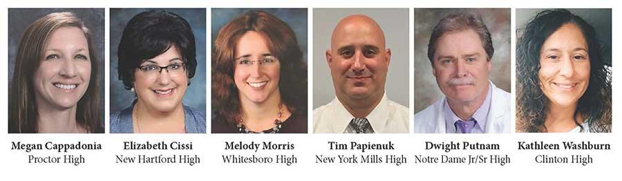 Teachers Megan Cappadonia, Elizabeth Cissi, Melody Morris, Tim Papienuk, Dwight Putnam, Kathleen Washburn.