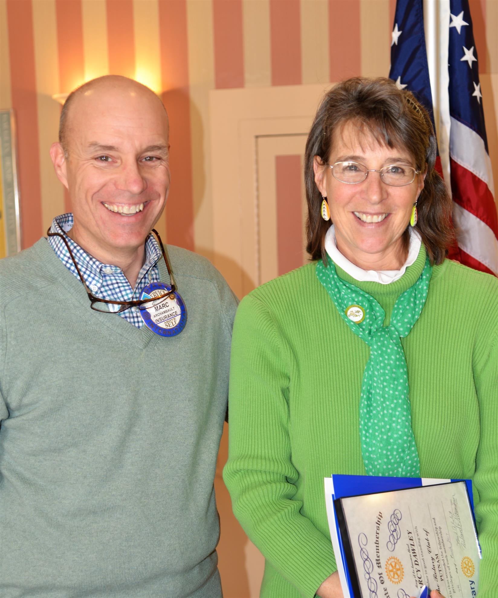 Newest Rotarian ! Marcy Dawley