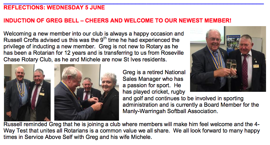 WE WELCOME A NEW ROTARIAN - REG BELL | Rotary Club of St  Ives