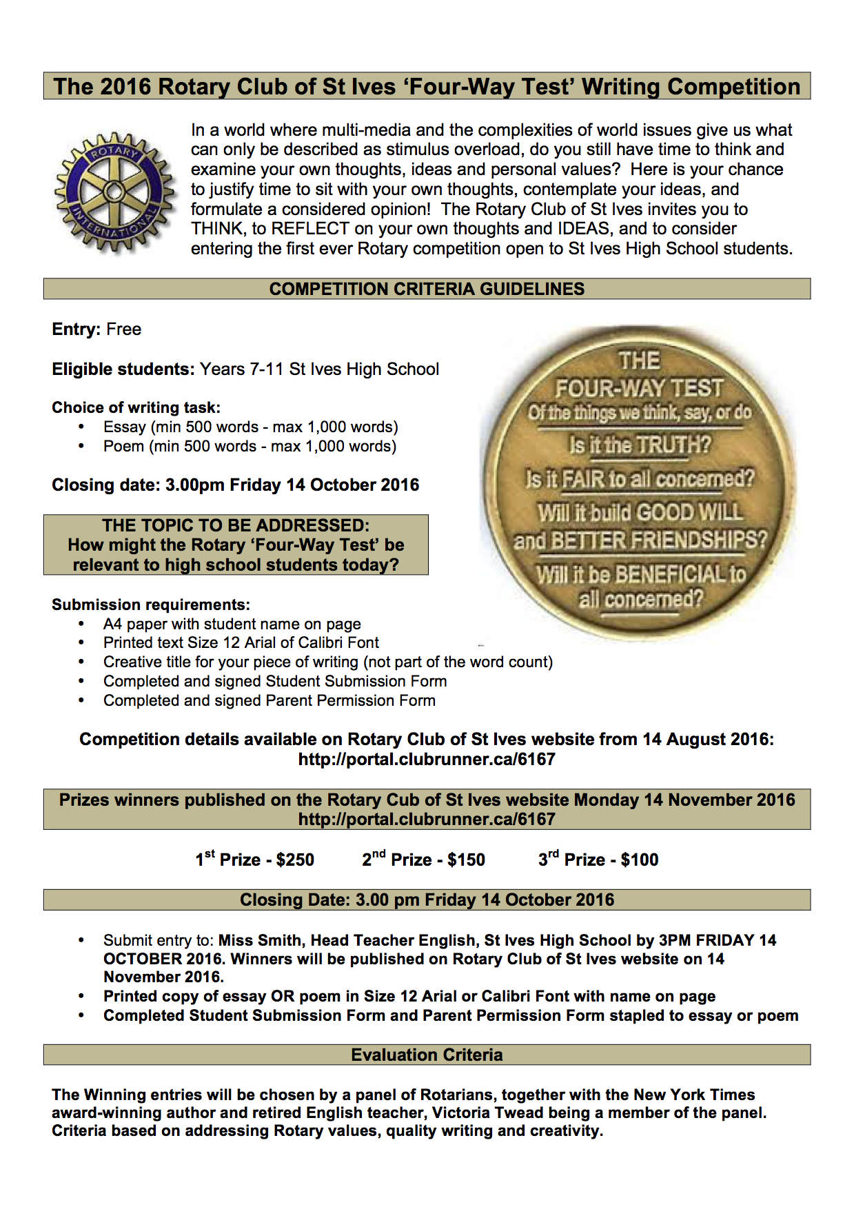 stories rotary club of st ives the competition is only open to students in years 7 11 at st ives high school details below and the entry and permission forms are available for