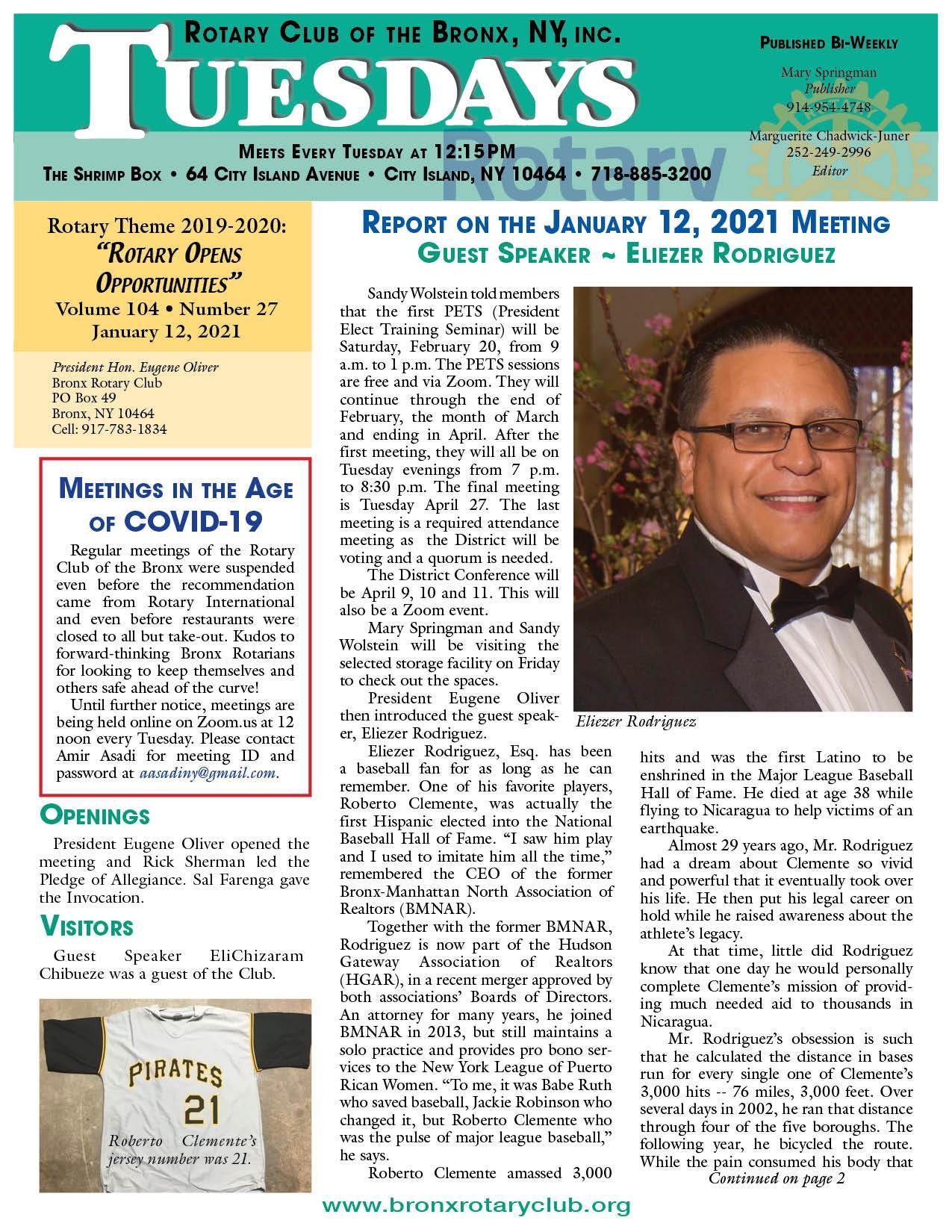 Tuesdays newsletter 1/12 & 1/19/2021 p1