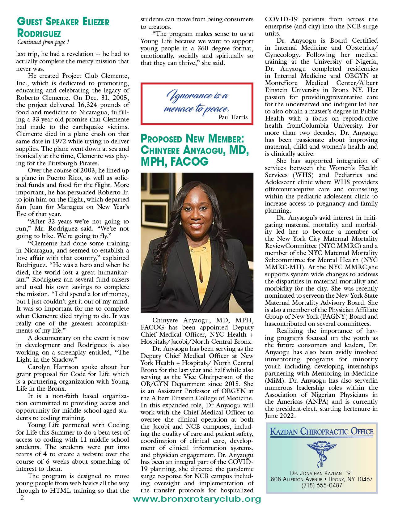 Tuesdays newsletter 1/12 & 1/19/2021 p2